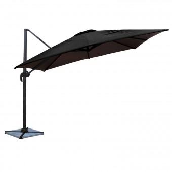 Parasol déporté MOLOKAI carré 3x3m noir - mât gris