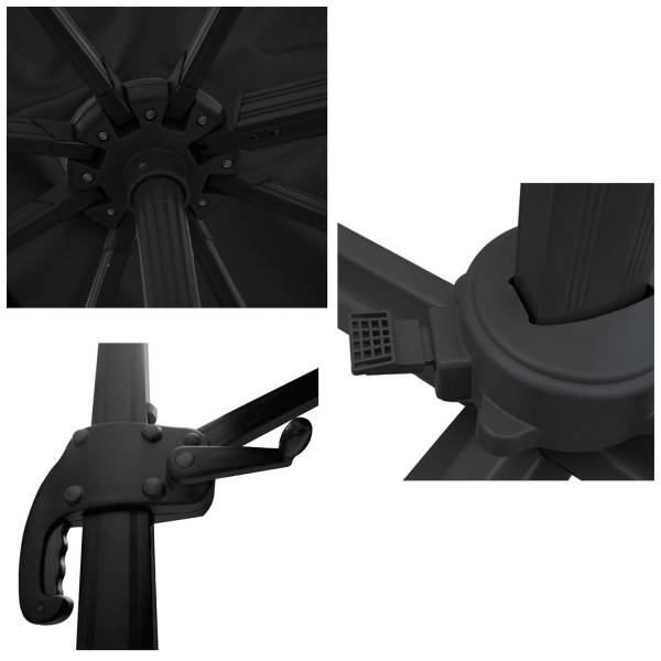 Parasol D 233 Port 233 Inclinable Carr 233 3x3 Noir Happy Garden