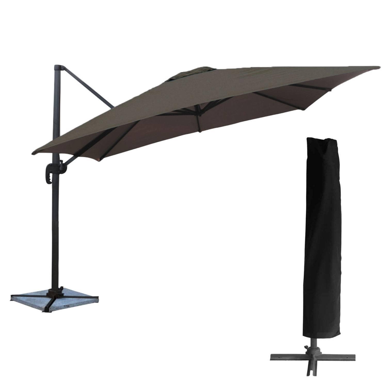Parasol déporté MOLOKAI carré 3x3m gris + housse