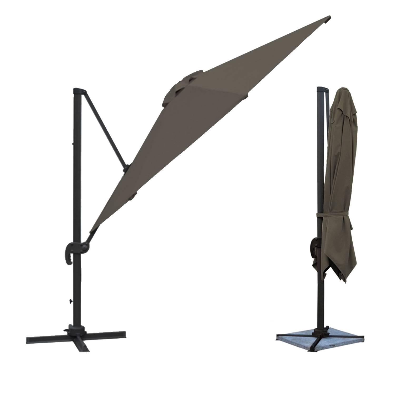parasol d port inclinable carr 3x3m gris housse. Black Bedroom Furniture Sets. Home Design Ideas