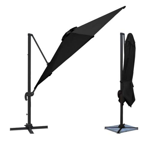 Parasol déporté MOLOKAI carré 3x3m noir + housse