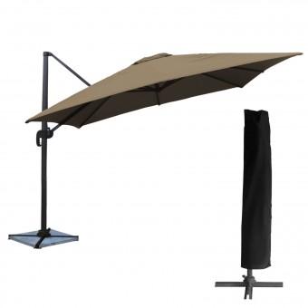 Parasol déporté MOLOKAI carré 3x3m taupe + housse
