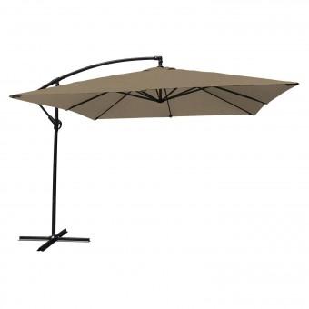 Parasol déporté MOLOKAI carré 2,7x2,7m taupe