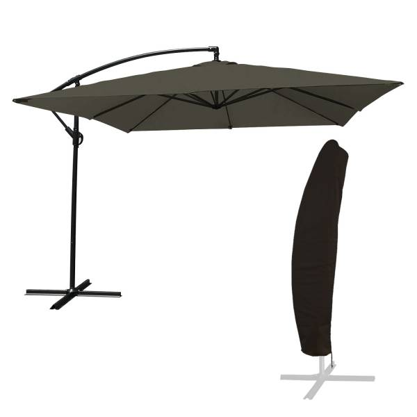 Parasol Deporte Inclinable Carre 2 7x2 7m Gris Housse
