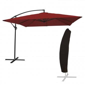 Parasol déporté MOLOKAI carré 2,7x2,7m rouge + housse