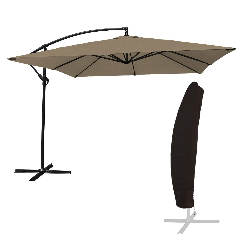 Parasol déporté MOLOKAI carré 2,7x2,7m taupe + housse