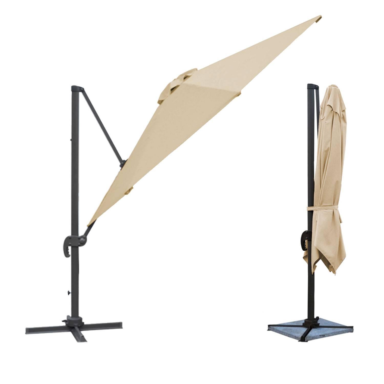 Parasol déporté MOLOKAI rectangulaire 3x4m beige + housse