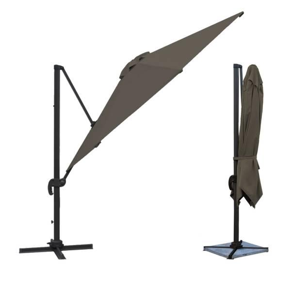 Parasol d port inclinable rectangulaire 3x4m gris housse - Parasol deporte rectangulaire 3x4m ...