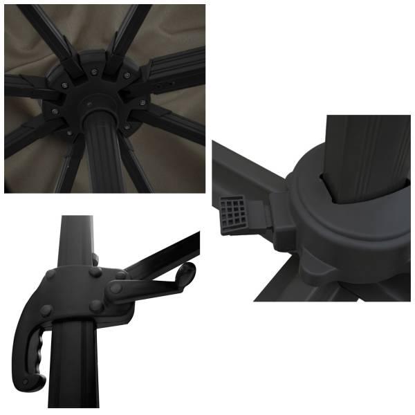parasol d port inclinable rectangulaire 3x4m gris housse. Black Bedroom Furniture Sets. Home Design Ideas