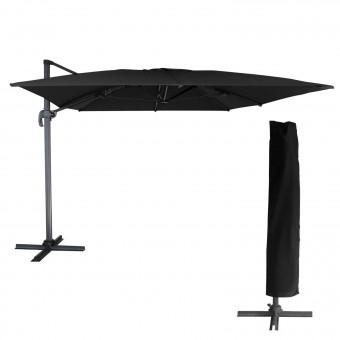 Parasol déporté MOLOKAI rectangulaire 3x4m noir  + housse