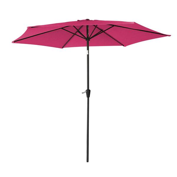 Parasol droit inclinable rond 2,7m fuchsia, mât gris   Happy Garden