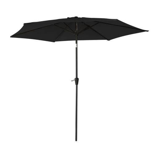 Parasol droit HAPUNA rond 2,70m de diamètre noir