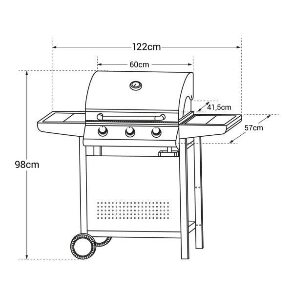 barbecue gaz 3 br leurs thermom tre happy garden. Black Bedroom Furniture Sets. Home Design Ideas