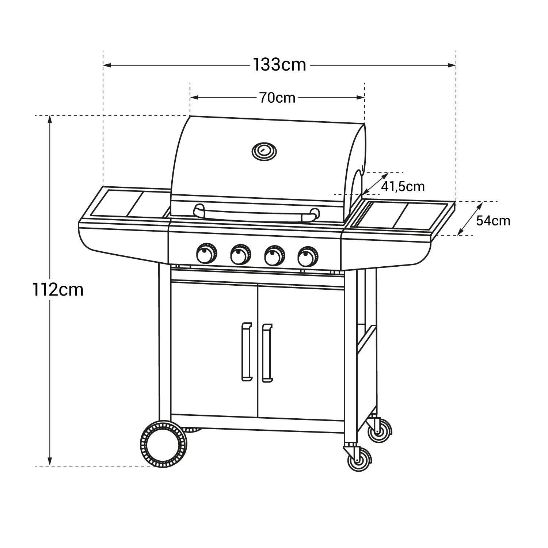 Barbecue Au Gaz Kentucky 4 Brûleurs Avec Thermomètre