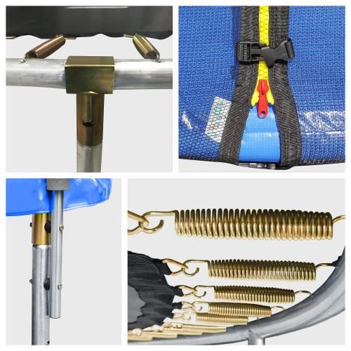 Pack Premium Trampoline 305cm réversible bleu / vert ADELAÏDE + filet, échelle, bâche et kit d'ancrage