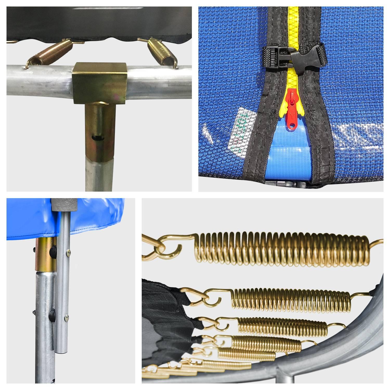 Pack Premium Trampoline 245cm réversible vert / bleu CANBERRA + filet, échelle, bâche et kit d'ancrage