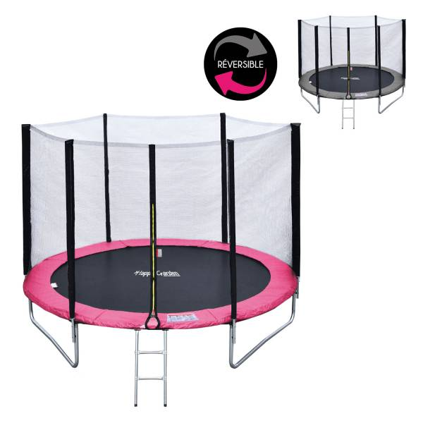 trampoline 180cm gris rose avec filet b che kit d 39 ancrage. Black Bedroom Furniture Sets. Home Design Ideas