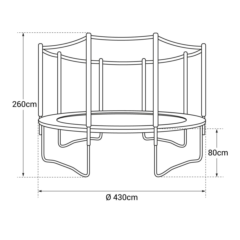 Pack Premium Trampoline 430cm réversible gris / rose MELBOURNE + filet, échelle, bâche et kit d'ancrage