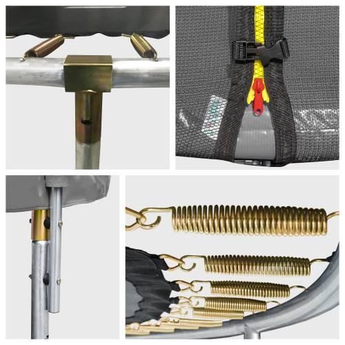 Pack Premium Trampoline 245cm réversible rose / gris CANBERRA + filet, échelle, bâche et kit d'ancrage