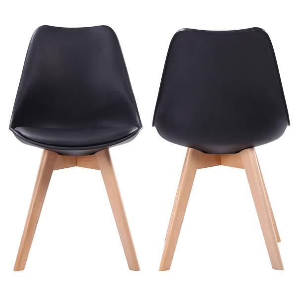 chaises style scandinave noires nora coussins lot de 4. Black Bedroom Furniture Sets. Home Design Ideas