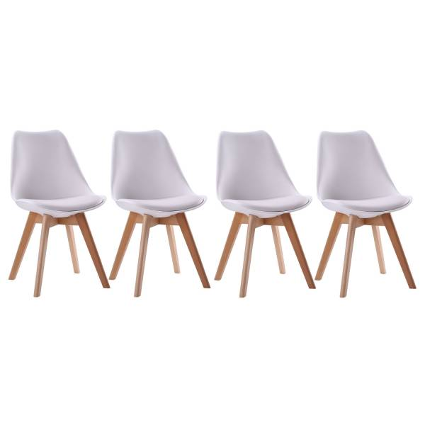 chaises style scandinave blanches nora coussins lot de 4. Black Bedroom Furniture Sets. Home Design Ideas