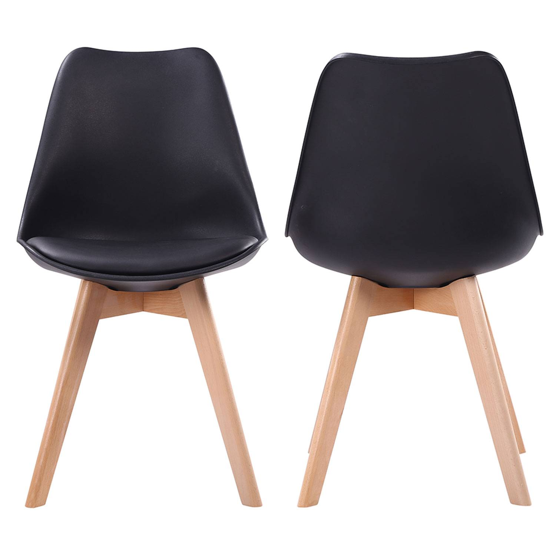 Lot de 2 chaises scandinaves NORA noires avec coussin