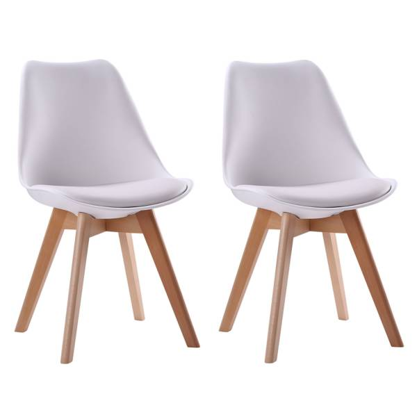 lot de 2 chaises scandinaves blanches nora avec coussin. Black Bedroom Furniture Sets. Home Design Ideas