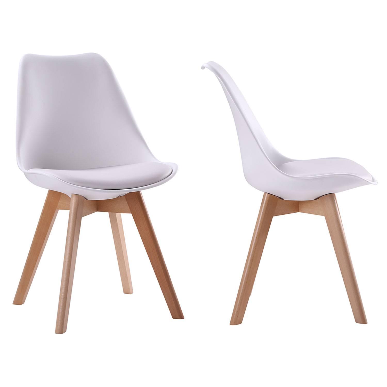 Lot de 2 chaises scandinaves NORA blanches avec coussin