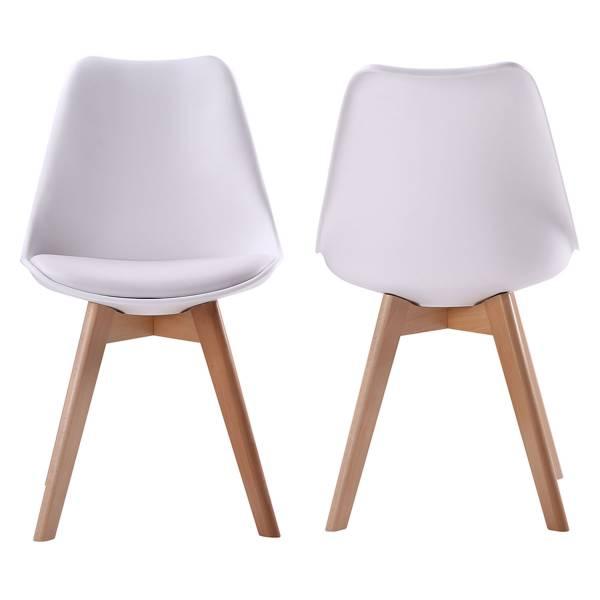 lot de 2 chaises scandinaves blanches nora avec coussin. Black Bedroom Furniture Sets. Home Design Ideas
