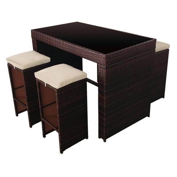 salon de jardin mange debout r sine chocolat 4 places. Black Bedroom Furniture Sets. Home Design Ideas