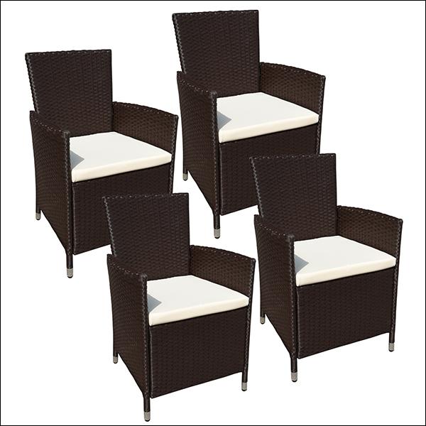 Lot de 4 fauteuils en résine tressée chocolat