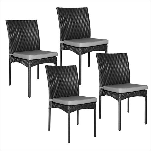 Lot de 4 chaises en résine tressée noir
