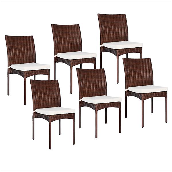 Lot de 6 chaises en résine tressée chocolat