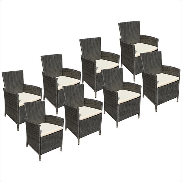 Lot de 8 fauteuils en résine tressée gris