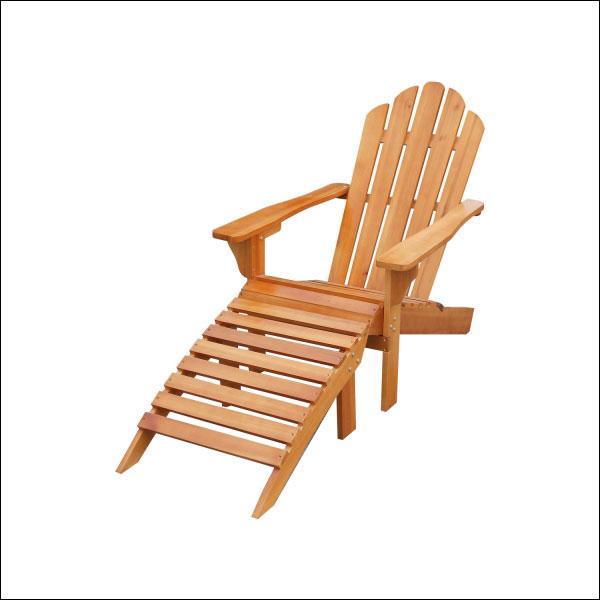 Ensemble fauteuil + repose-pieds en sapin naturel
