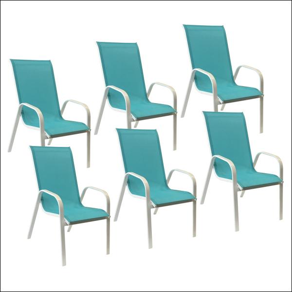Lot de 6 chaises bleues en textilène MARBELLA