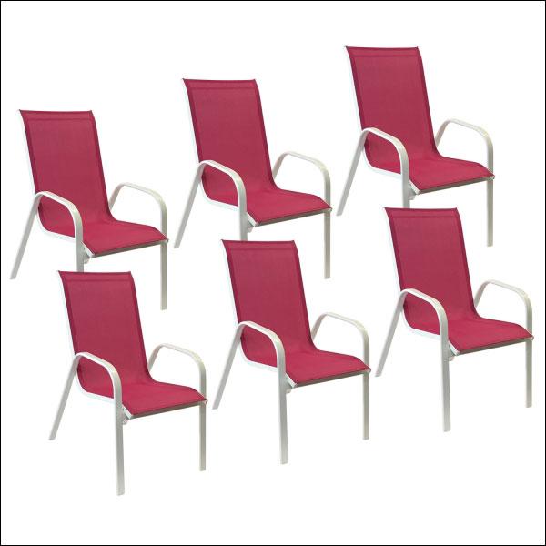 Lot de 6 chaises fuchsia en textilène MARBELLA