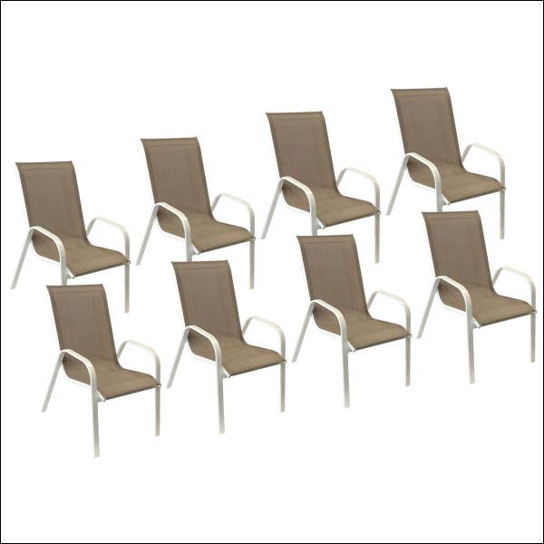 Lot de 8 chaises taupe en textilène MARBELLA