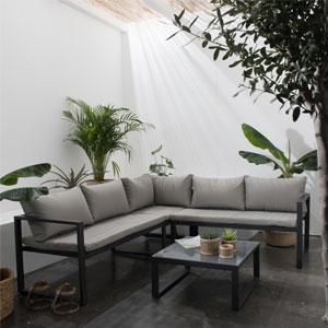 salon de jardin angle tissu 4 places