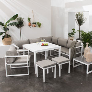 salon de jardin tissu 7 places